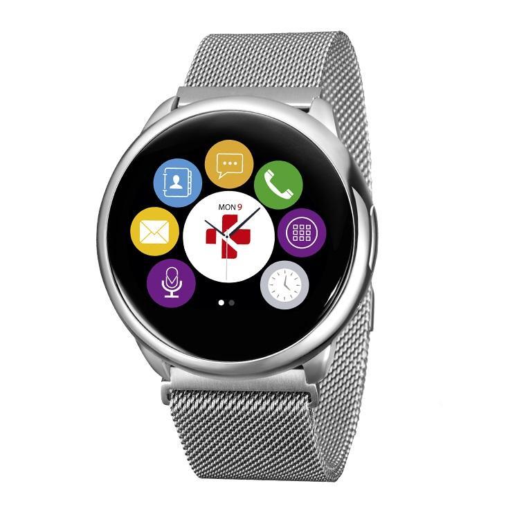 Смарт часовник MyKronoz ZeRound Premium с тъч-скрийн и метална верижка, Сребрист