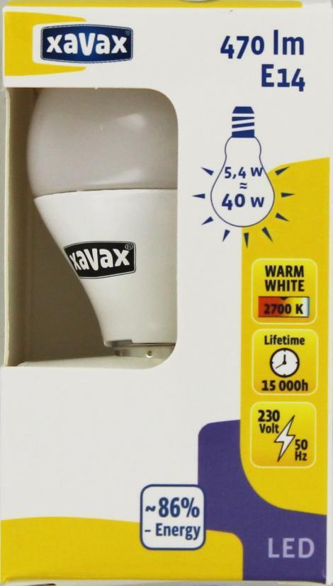 LED крушка XAVAX 112291, 230V, 5.4W, E14, P45, 2700K, bulb