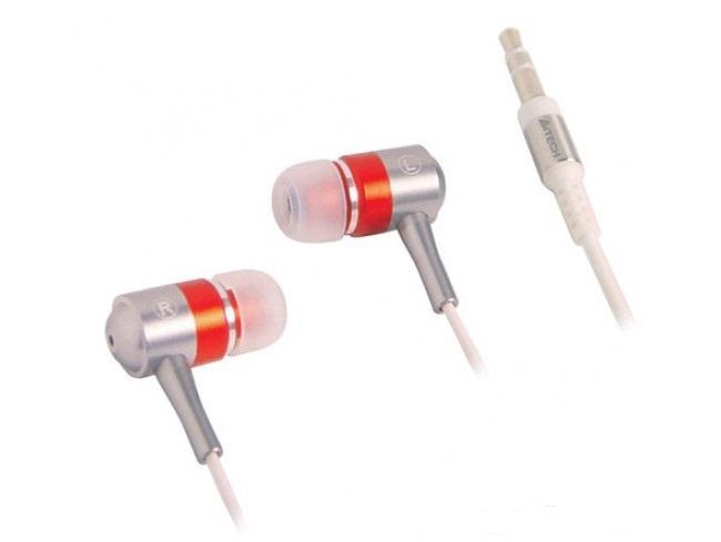 Слушалки А4tech MK650, In-Ear, Червен/Сив