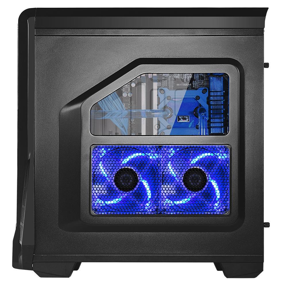 Кутия SPIRE SAMURAI X2-T1610B/W-2U3-2BL Blue Led, ATX, Черна