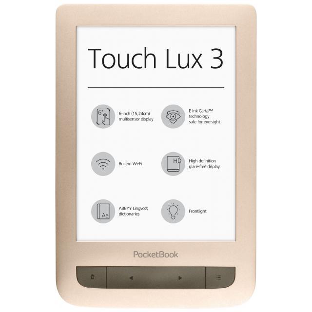 "eBook четец POCKETBOOK Touch Lux 3 PB626(2), 6"", Матово златист"