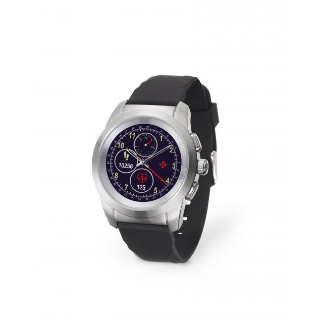 Хибриден смарт часовник MyKronoz ZeTime Petite Silver/Black, силиконова черна каишка