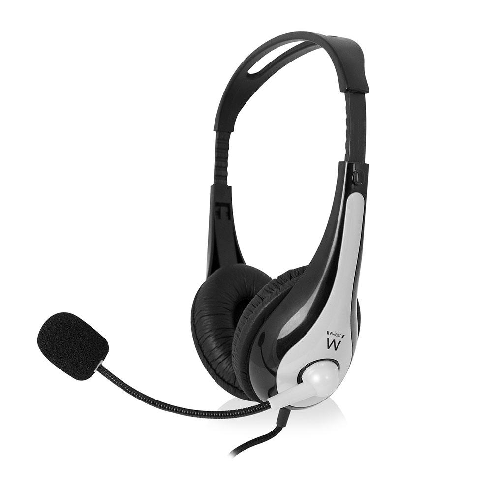 Слушалки Ewent EW3562, Микрофон, 2x 3.5mm жак, 2.0м кабел, Сив/Черен