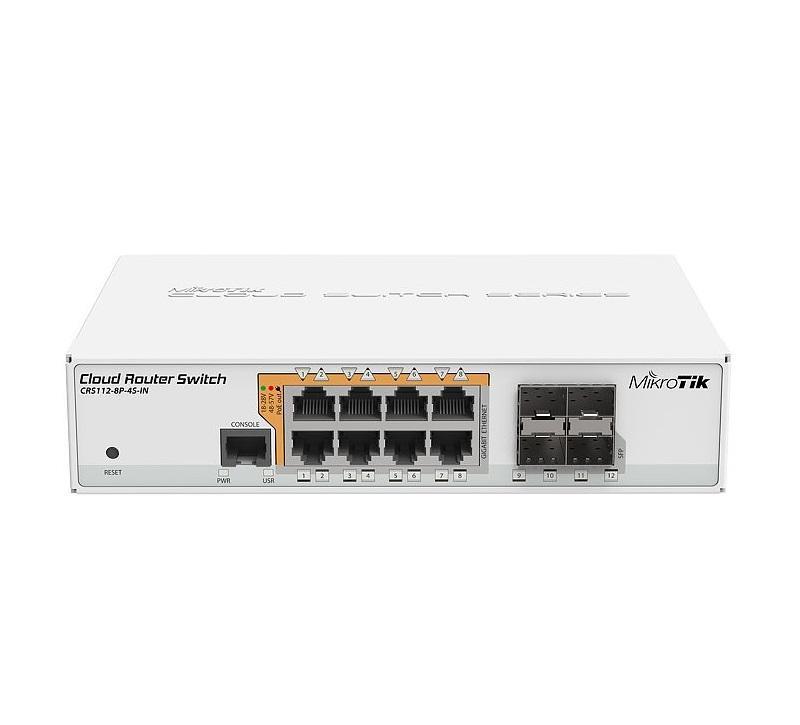 Суич MikroTik CRS112-8P-4S-IN, 8 x Gigabit Ethernet ports, 10/100/1000Mbps, 4 x SFP