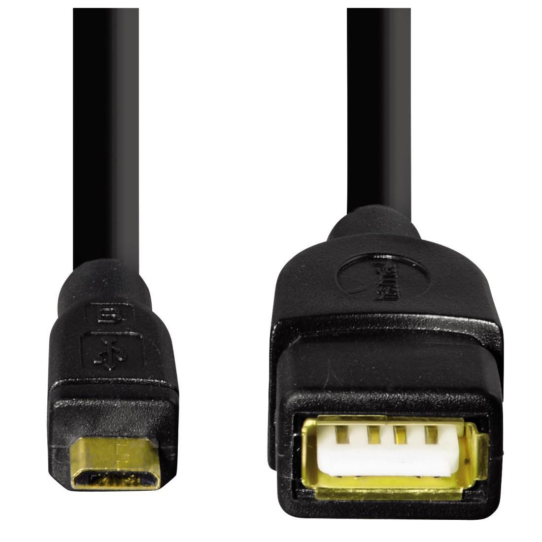 Кабел HAMA 78426 USB 2.0 OTG micro USB - женско USB 2.0, 0.15 м., Черен