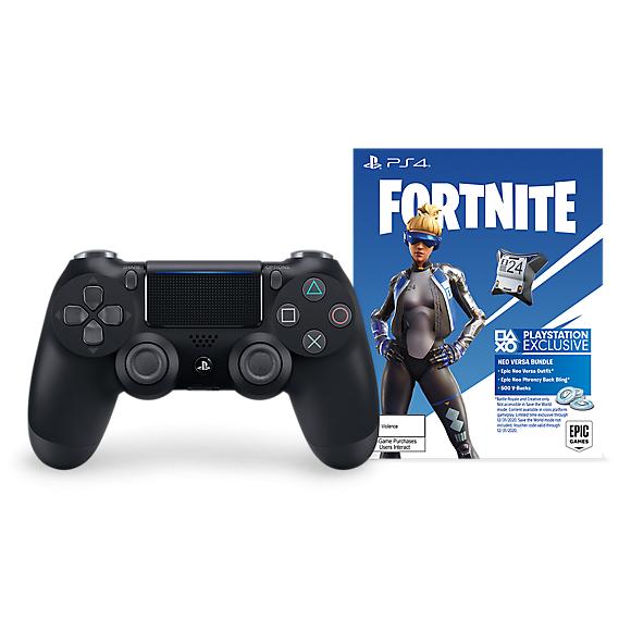 Безжичен геймпад Sony DualShock 4 Jet Black - Fortnite Neo Versa Bundle