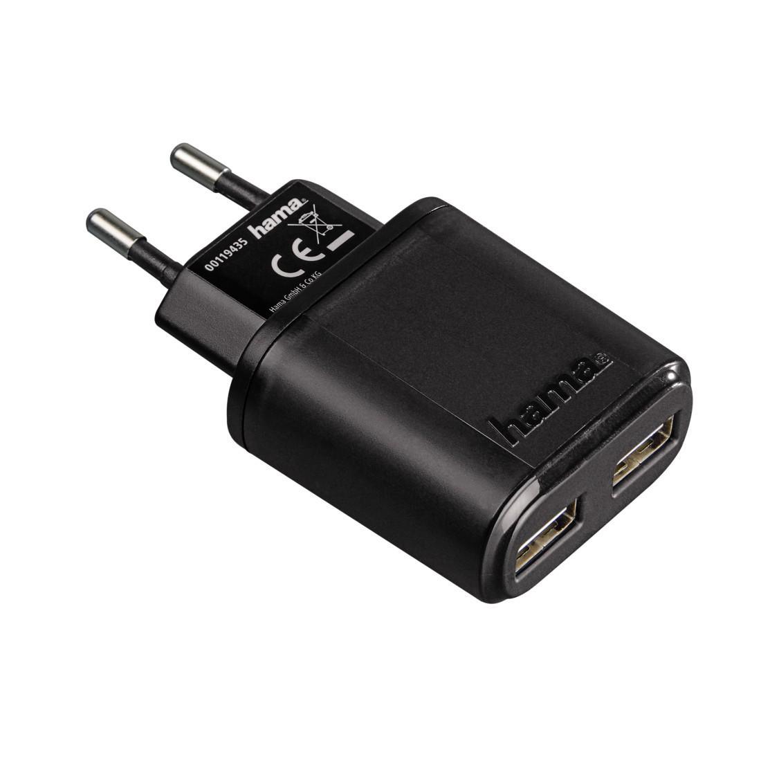 Зарядно 220V HAMA Auto-Detect 119417, 5 V/2.4 A, 2 x USB, Black