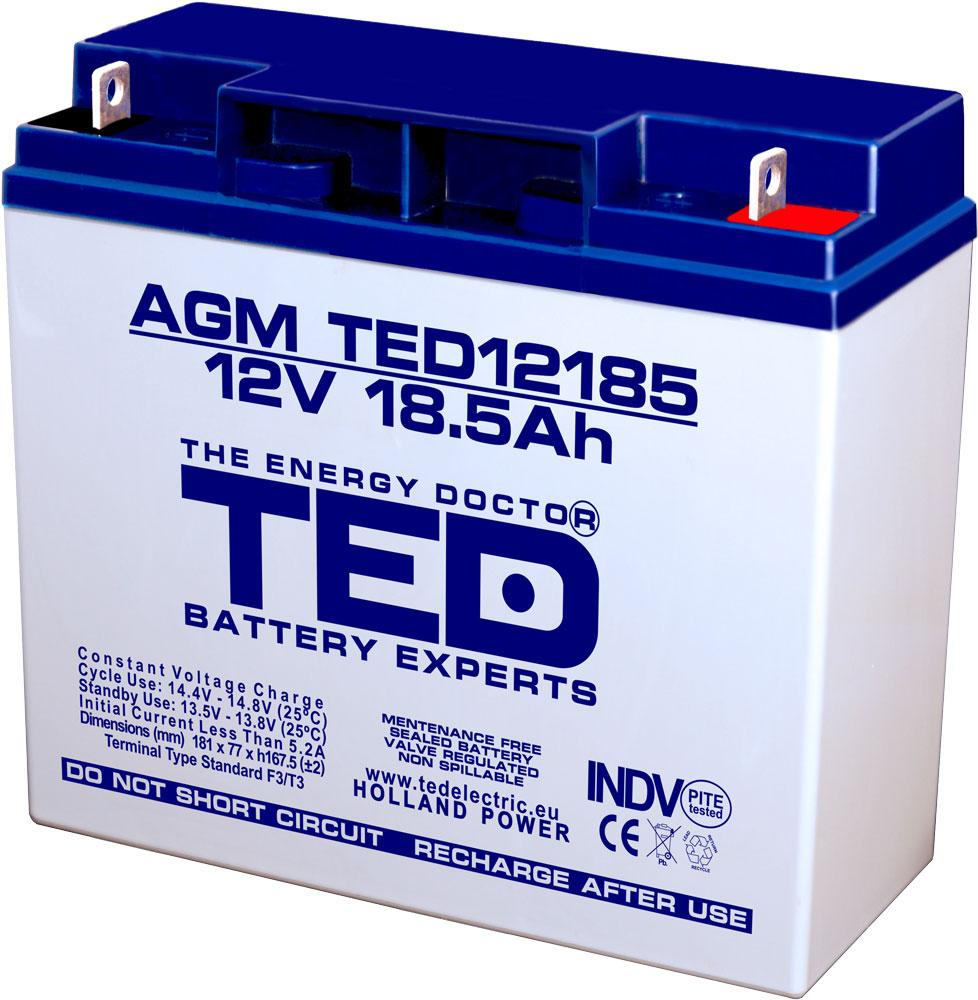 Оловна Батерия TED ELECTRIC 12V / 18.5Ah - 181 / 76 / 167mm AGM