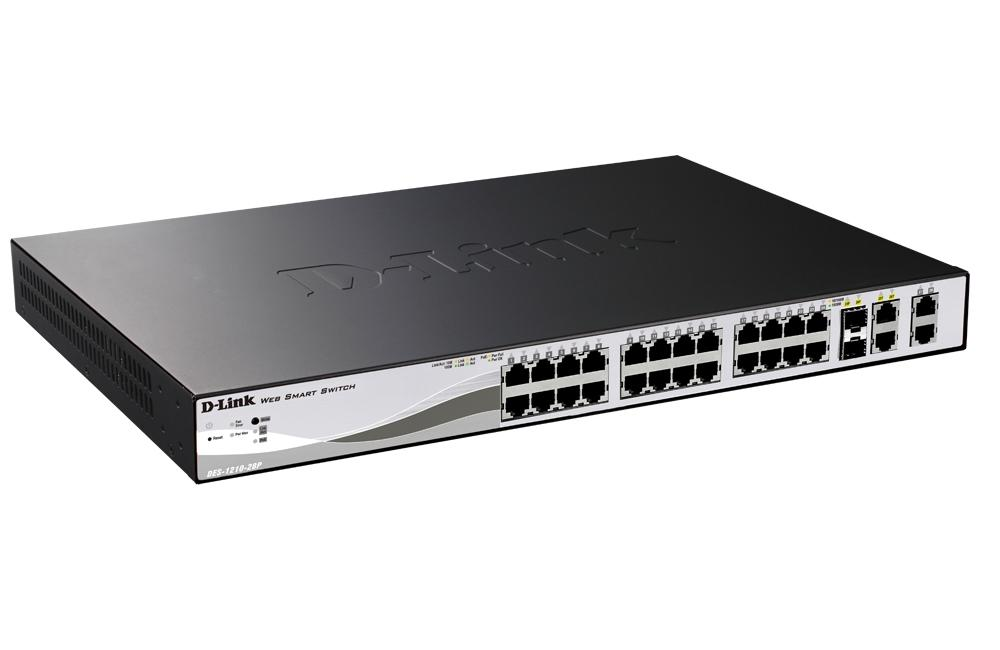 Суич D-Link 24-port 10/100 PoE Smart Switch + 2 Combo 1000BaseT/SFP + 2 Gigabit, управляем, за монтаж в шкаф