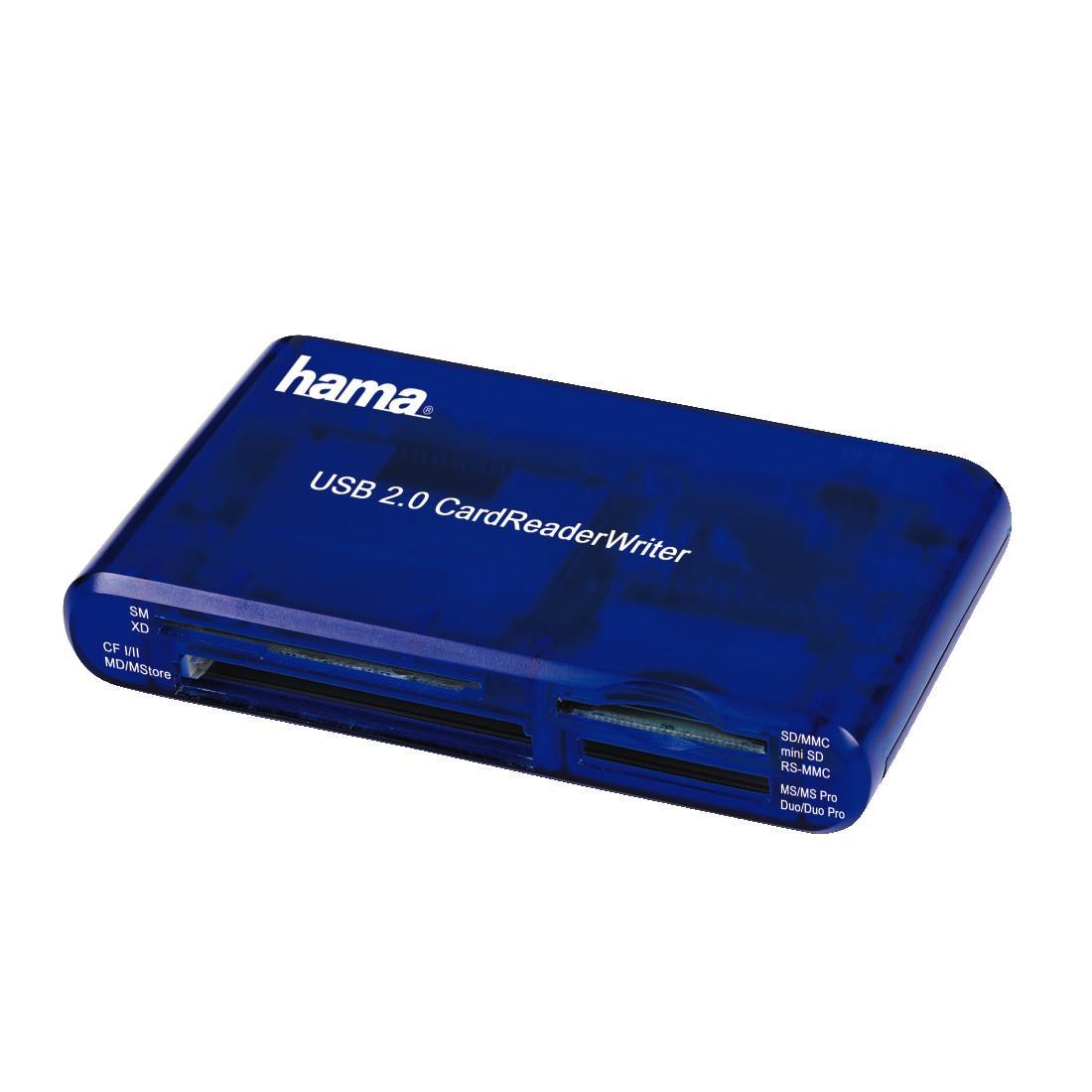 Четец за карти HAMA 55348, USB 2.0, 35 in 1-син