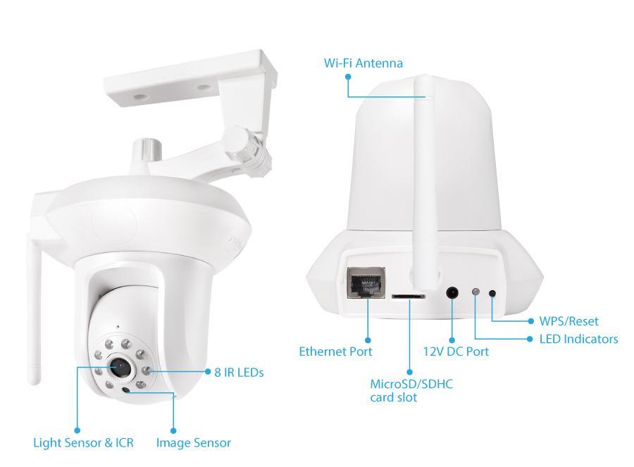 Камера за наблюдение IP EDIMAX IC-7112W, безжична, Pan/Tilt, нощно виждане, слот за карта
