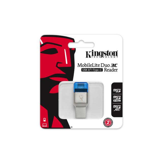 Четец за карти KINGSTON MobileLite Duo 3C, USB 3.1 + Type-C