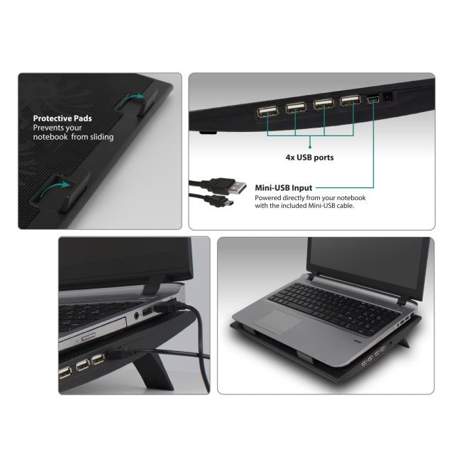 Охладител за лаптоп Ewent с два вентилатора, USB хъб, Черна