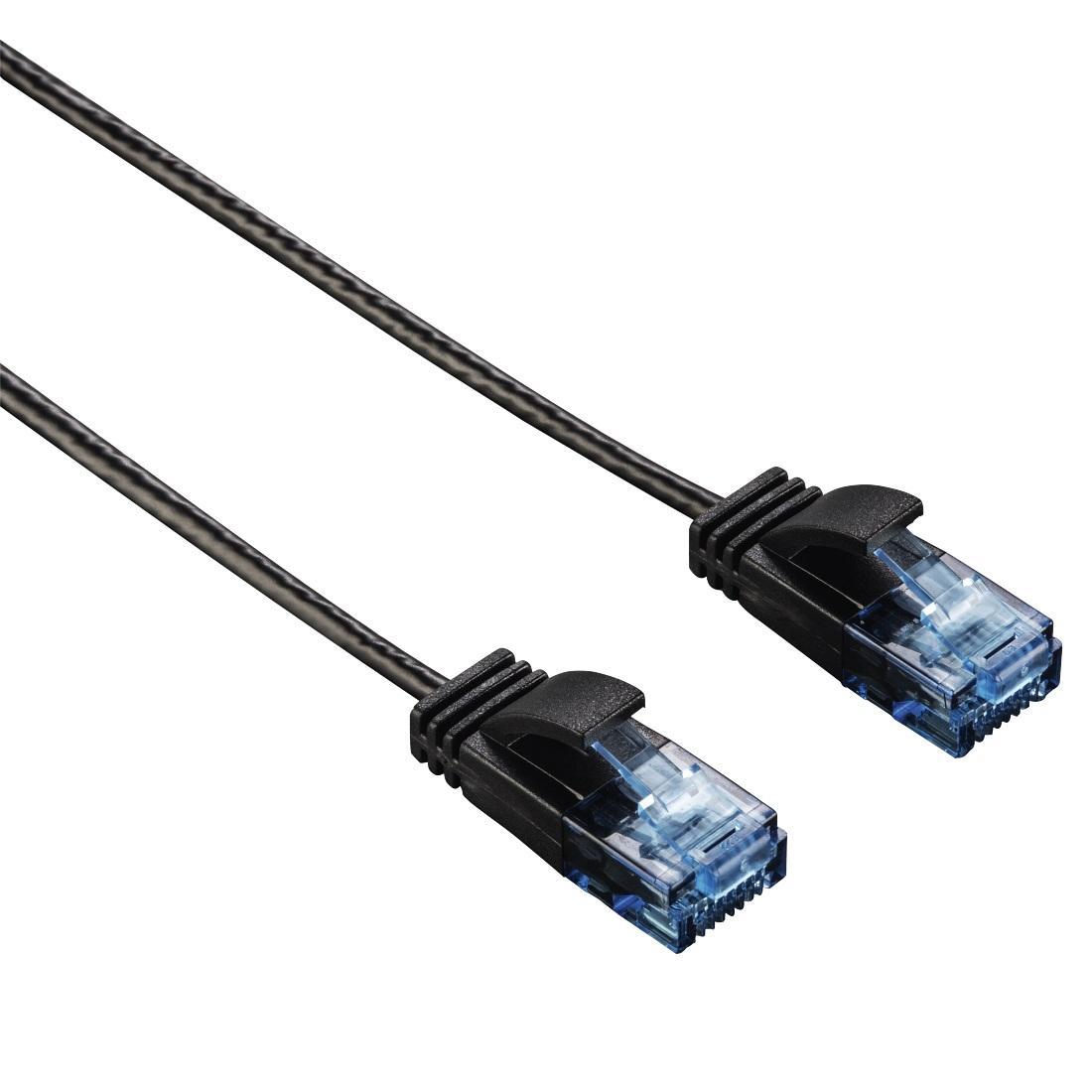 Мрежов кабел HAMA Slim-Flexible, CAT-6, UTP, RJ-45 - RJ-45, 1.5м, Черен