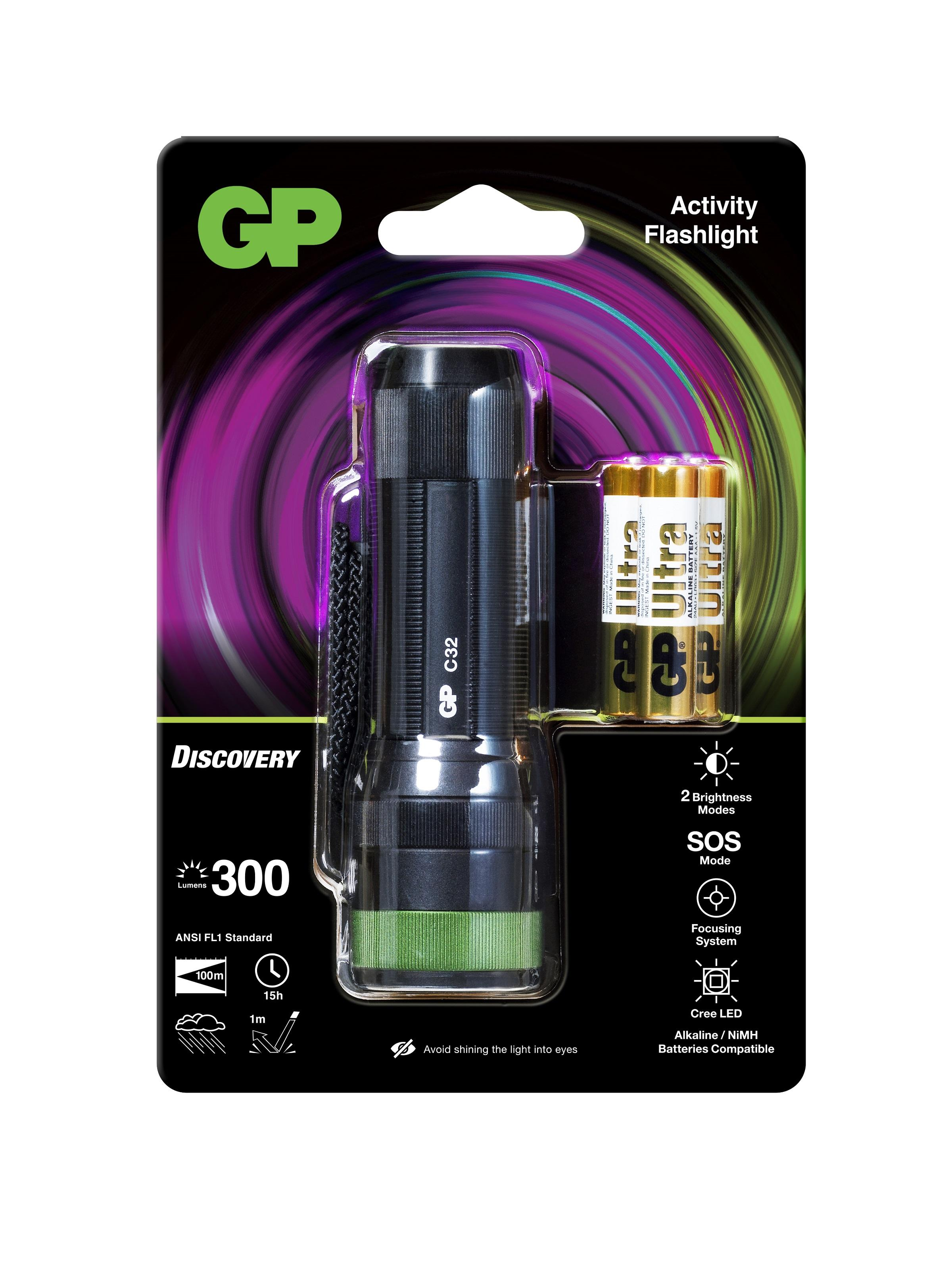 Фенер GP BATTERIES C32, LED 300 лумена CREE Discovery Outdoor