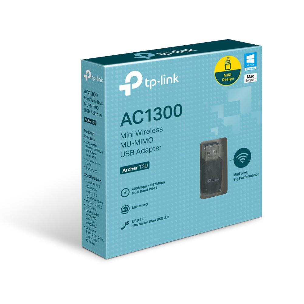 Безжичен адаптер TP-LINK Archer T3U, AC 1300 MU-MIMO, Dual band, USB 3.0, вградена антена