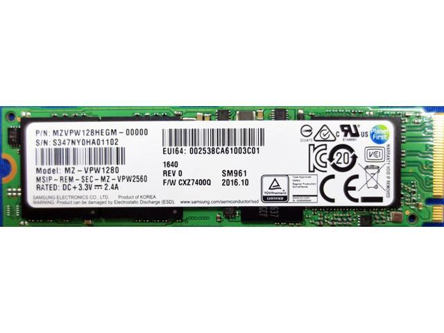 Solid State Drive (SSD) SAMSUNG SM961 NVMe PCIe M.2 Type2280 128GB MZVPW128HEGM-00000