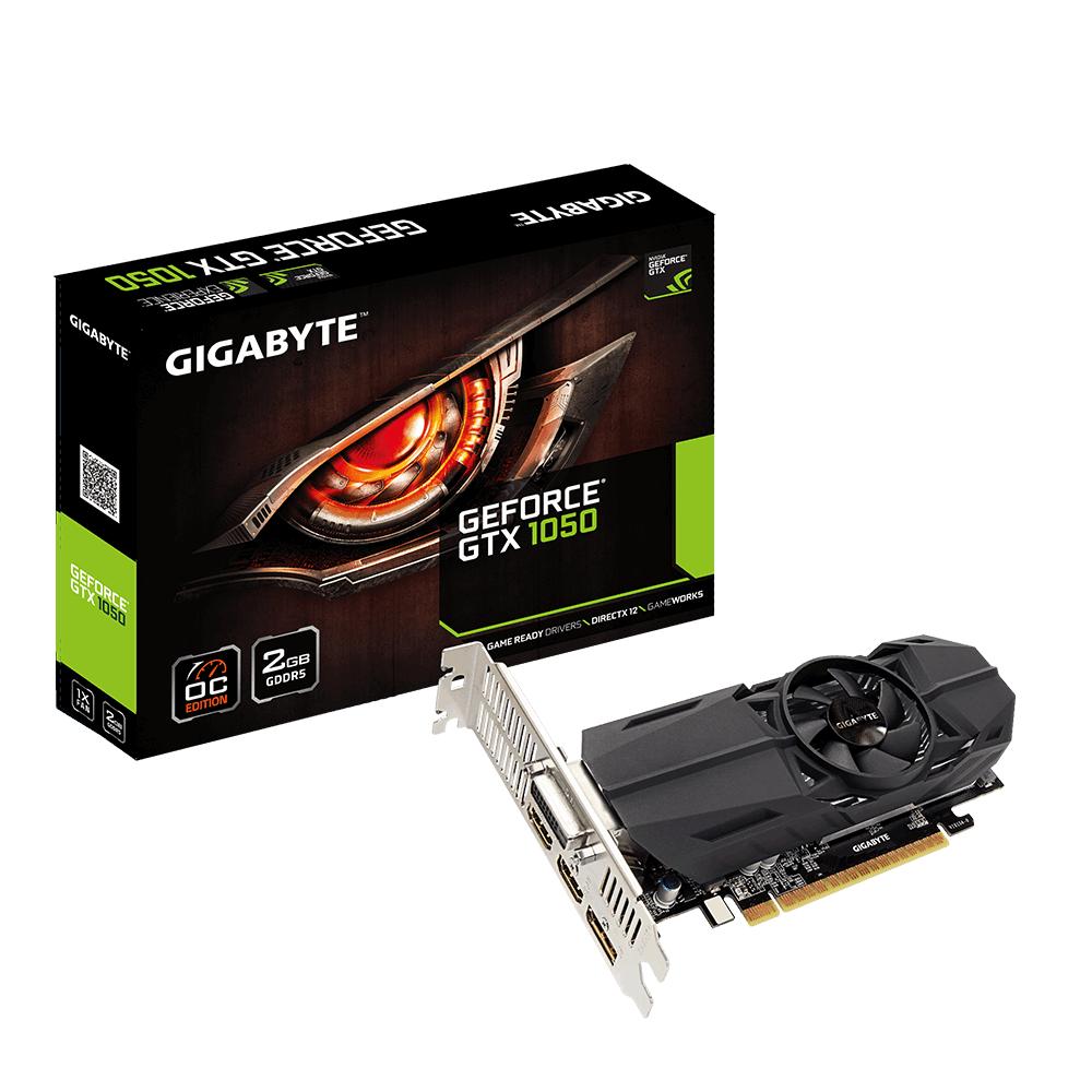 Видео карта GIGABYTE GeForce GTX 1050 OC Low Profile 2GB GDDR5 128 bit, DVI-D, DisplayPort, HDMI