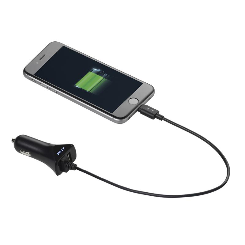 Зарядно за кола PNY, 12V/USB, 5V/3400mA, Черен