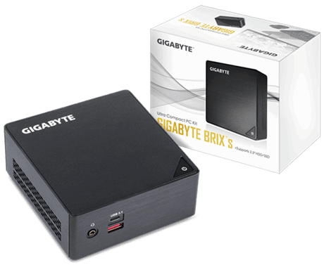 Настолен мини компютър Gigabyte Brix BKi5HA-7200, Intel® Core™ i5-7200U, 2 x SO-DIMM DDR4, M.2 SSD,HDD/SSD,USB Type-C™, WF+BT, черен