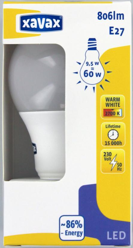 LED крушка XAVAX 112288, 9.5W, E27, 2700K, bulb