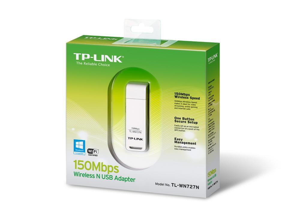 Безжичен адаптер TP LINK TL-WN727N, USB, Ralink, 2.4Ghz, 802.11n/g/b
