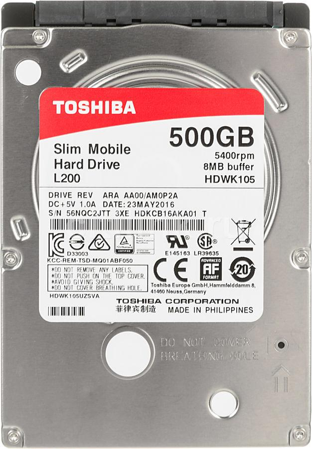 Хард диск за лаптоп TOSHIBA L200, 500GB, 5400rpm, 8 MB, SATA 6Gb/s, 7 mm HDWK105UZSVA