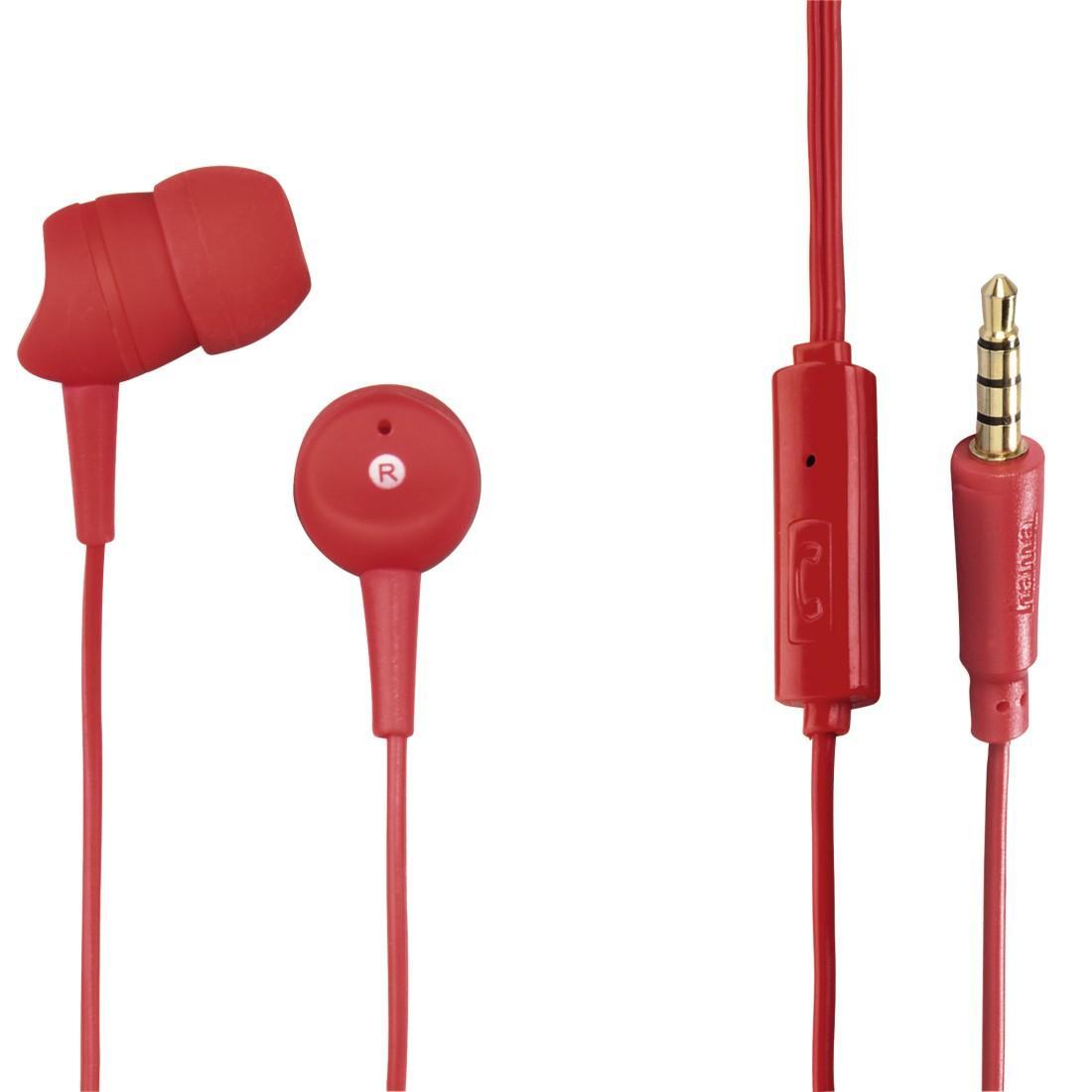 Слушалки HAMA Basic 137438, Микрофон, In-Ear, Червен