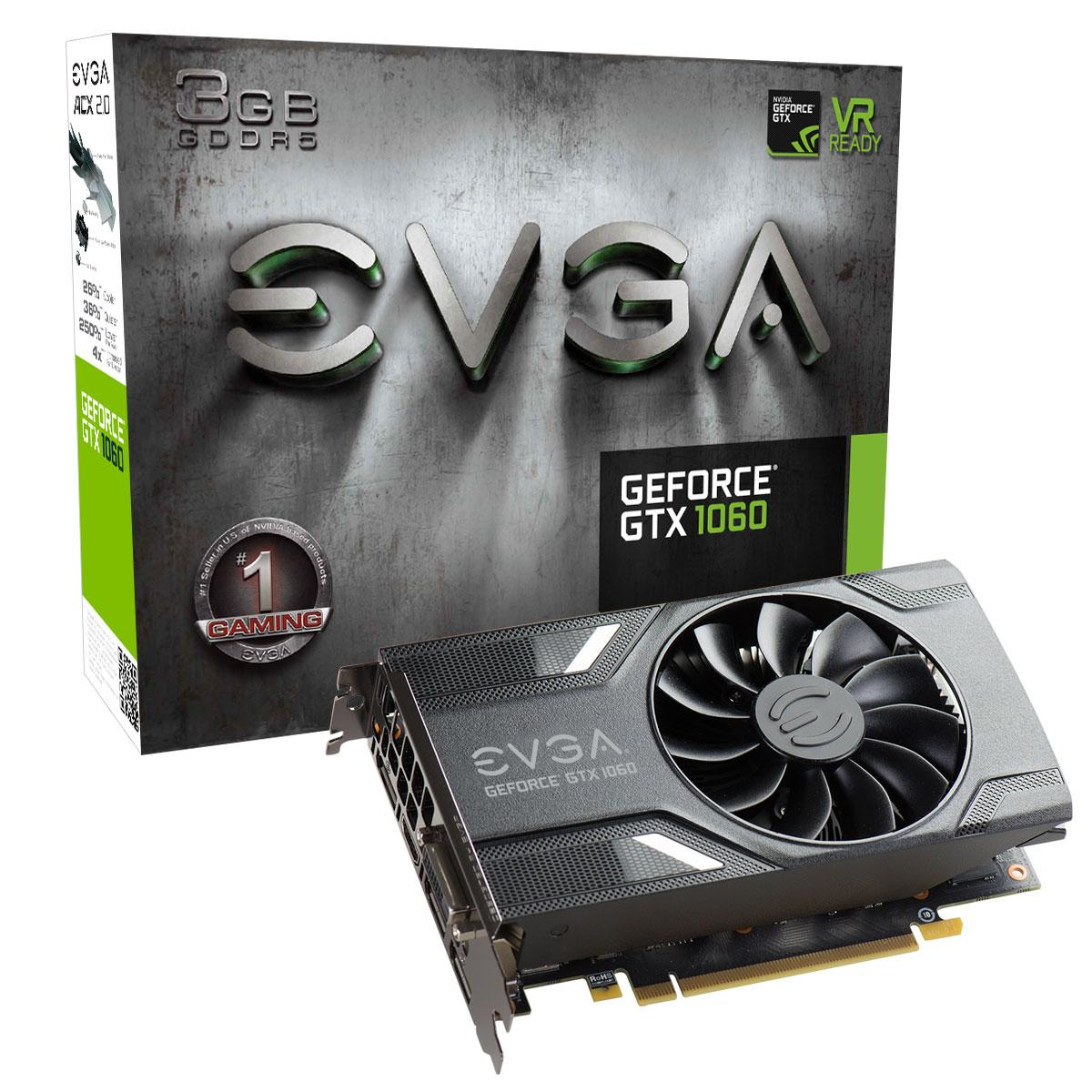 Видео карта EVGA GeForce GTX 1060 3GB GAMING 03G-P4-6160-KR, GDDR5, 192 bit, DVI-D, DisplayPort, HDMI