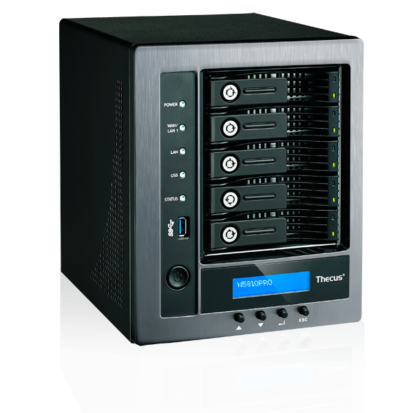 Мрежов сторидж Thecus Soho NAS N5810 PRO с вграден UPS, за 5 диска до 50TB, Intel Celeron J1900 2.42Ghz Quad Core,4GB DDR3, USB2.0, USB 3.0,HDMI