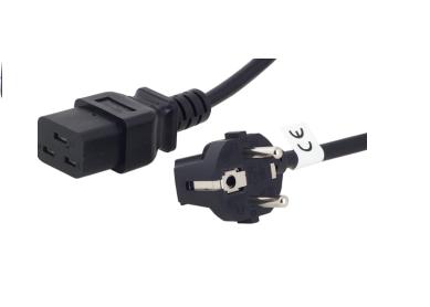 Захранващ кабел FORTRON IEC320-C19, 1.8 m, Черен