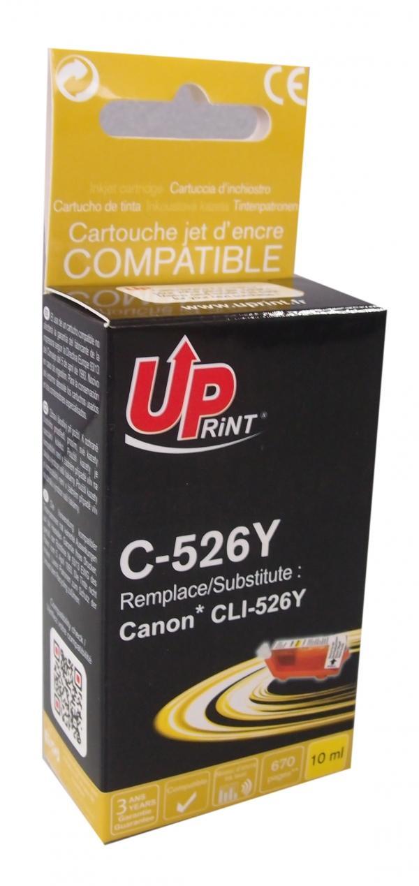 Мастилница UPRINT CLI526 CANON, С чип, Yellow