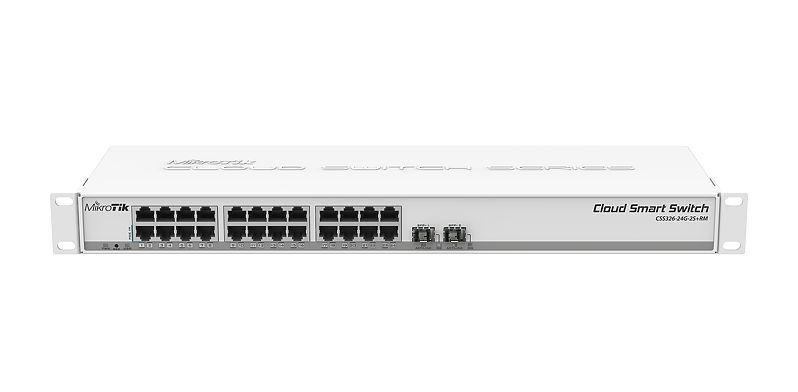 Суич MikroTik 326-24G-2S+RM 24 x Gigabit Ethernet ports, 10/100/1000Mbps, 2x SFP+ cages, монтаж в шкаф