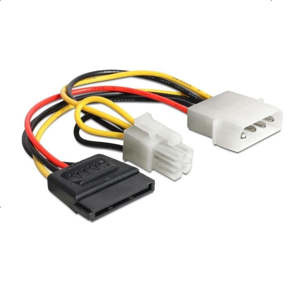 Кабел DeLock Power Molex 4 pin мъжко към SATA 15 pin женско + P4 мъжко, 15 cm