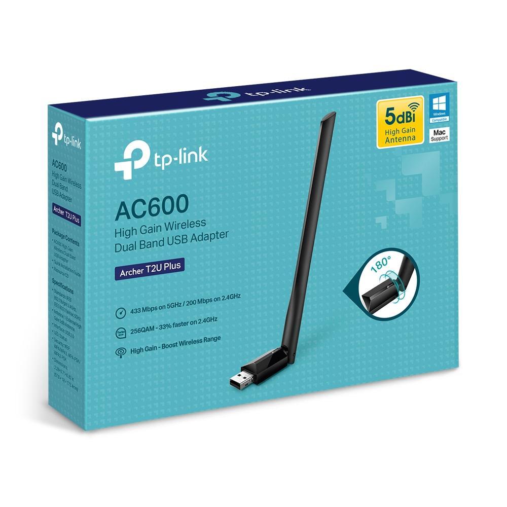 Безжичен адаптер TP-LINK Archer T2U PLUS, AC600, Dual band, USB, външна антена 5 dBi