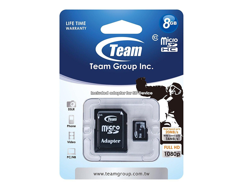 Карта памет TEAM micro SDHC, 8GB, Class 10 с SD адаптер