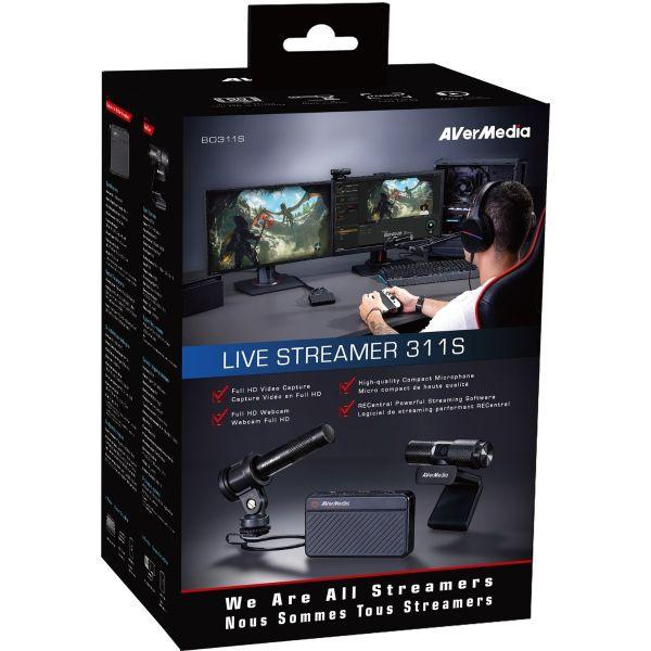 Комплект AVerMedia Live Streamer 311S - кепчър карта, уеб камера и микрофон