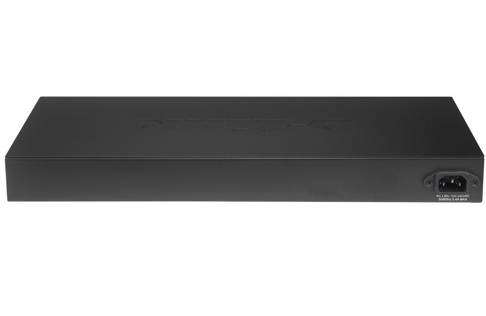 Суич D-Link 24-port 10/100 Smart Switch + 2 Combo 1000BaseT/SFP + 2 Gigabit, управляем, за монтаж в шкаф