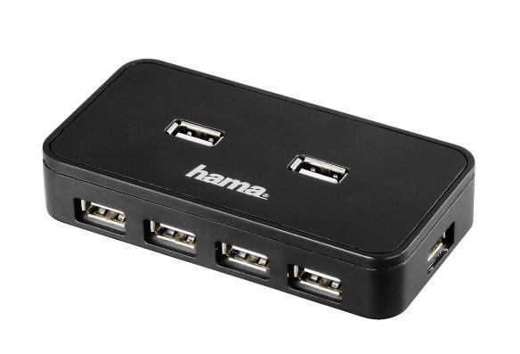 USB хъб със захранване HAMA, USB 2.0, 1:7,Черен