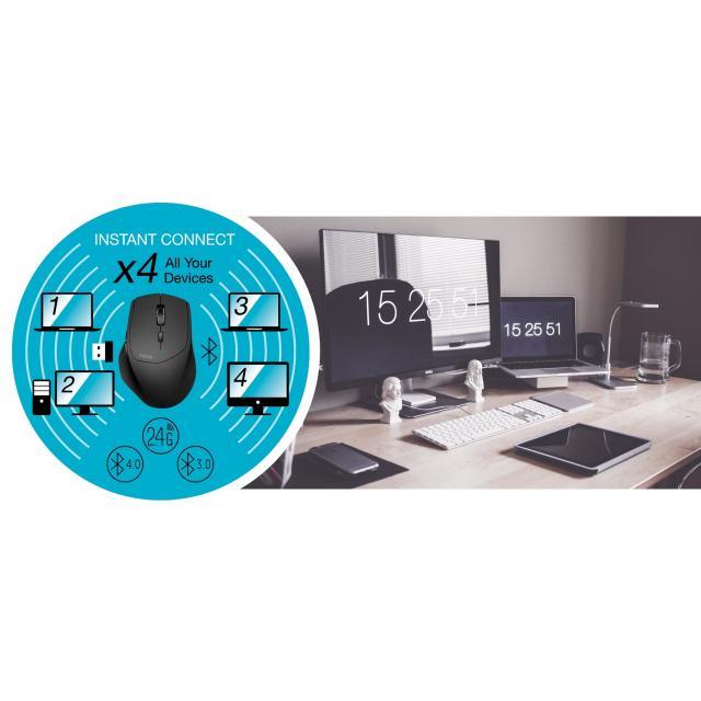Безжична оптична мишка RAPOO MT550, Multi-mode, Bluetooth & 2.4Ghz, Черен