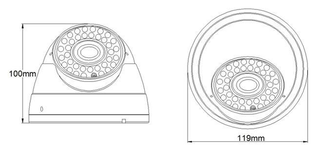 Камера за наблюдение VG HK HIGH TECH  AHD-IR30MDE-2.0,Куполна ,CMOS, 2.0MP; 2.8-12мм.lens,36 IR led
