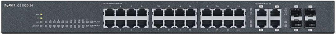 Суич ZYXEL GS1920-24, 24х GbE порта, 4х Combo порта, управляем, за монтаж в шкаф