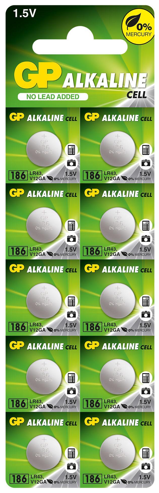 Бутонна алкална батерия GP186 AG12 LR-43/ 10 бр./pack цена за 1 бр./ 1.55V GP