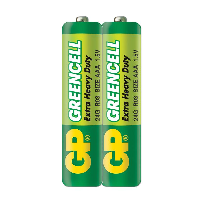 Цинк карбонова батерия GP GREENCELL R03, AAA, 2 бр. shrink, 1.5V