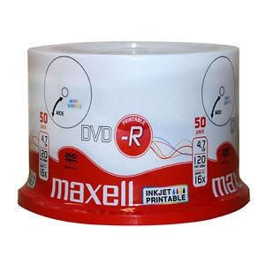 DVD-R MAXELL, 4,7 GB, 16x, Printable, 50 pk cake box