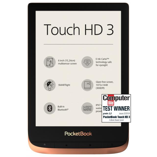 "eBook четец POCKETBOOK Touch HD3 PB632-K-WW, 6"", Spicy Copper"