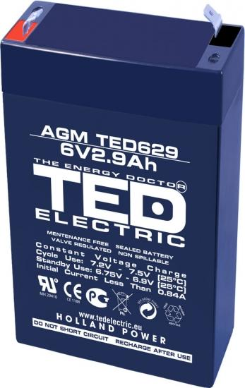 Оловна Батерия TED ELECTRIC   6 V  / 2.9 Ah - 65 / 33 / 105mm AGM