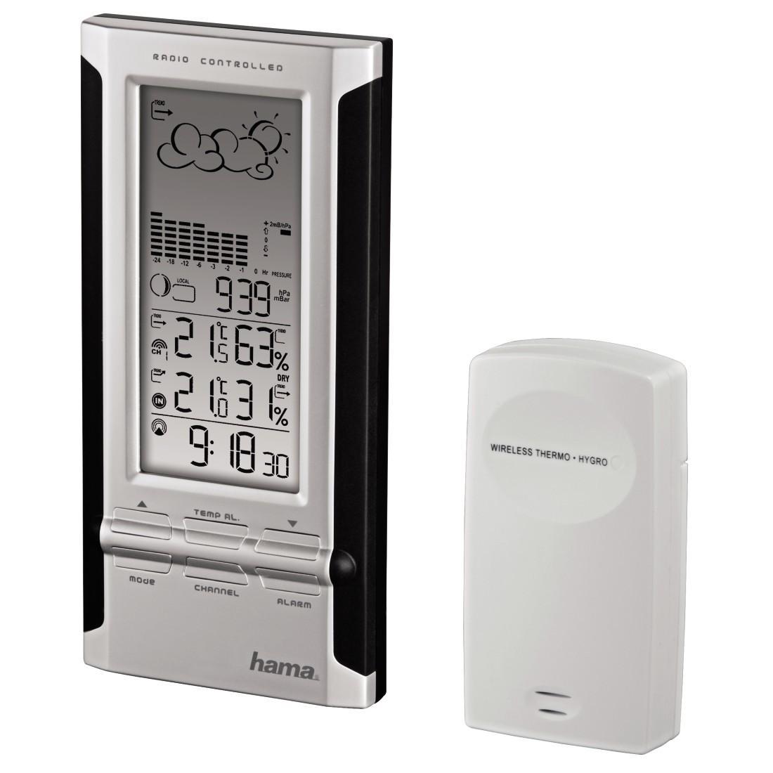 Електронна метеостанция HAMA EWS-380 104932,Черен/Сив