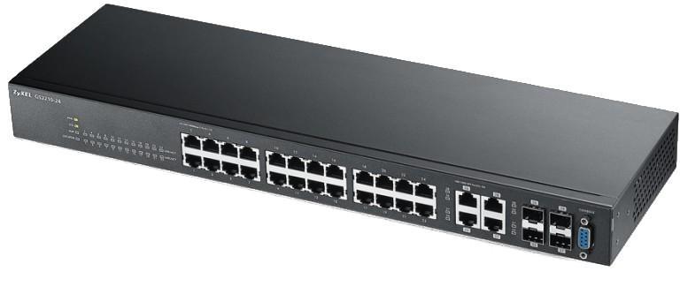 Суич ZYXEL GS2210-24, 24 портов управляем L2, Gigabit, за монтаж в шкаф