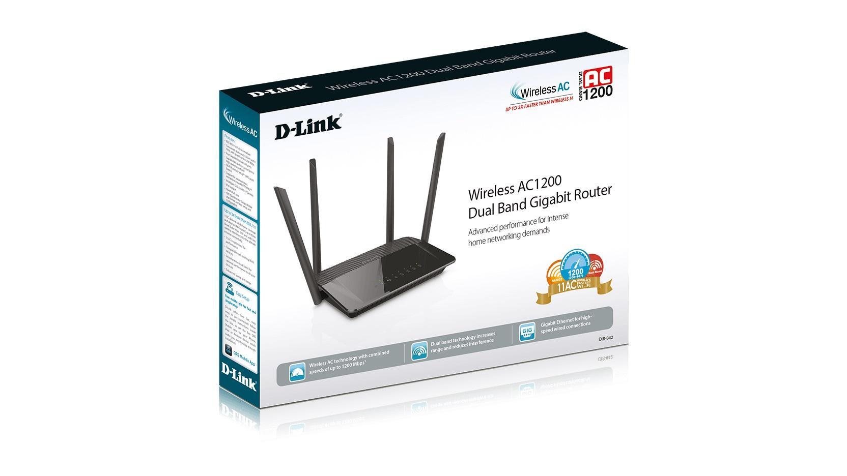 Безжичен рутер D-LINK DIR-842, Двубандов AC1200, 867Mbps, Gigabit